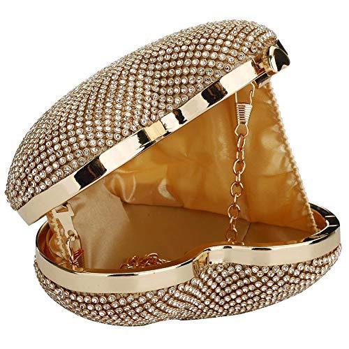 Color Bag Plated Cute Shape Rhinestone Clutch Clutch Purses Gold Women EROUGE Heart Rose Evening 6gOcg4