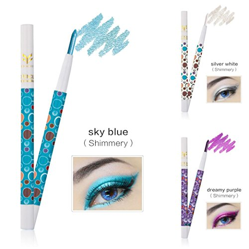Price comparison product image Eyeshadow Pencil,  Hunzed 3 Colors Pro Highlighter Eyeshadow Pencil Beauty Cosmetic Glitter Eye Shadow Pen (E)