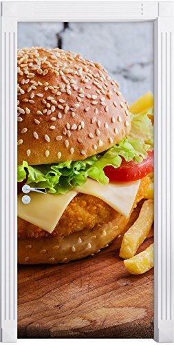 Chickenburger mit Pommes als Türtapete, Format: 200x90cm, Türbild, Türaufkleber, Tür Deko, Türsticker