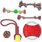 DODODO PET SUPPLIES Dog Rope Toys Set Dog Toys - Chew Toys - 100% Natural Cotton Rope - Dog Balls - Dog Ropes - Tug War Ball - Small to Medium Dogs (Colors May Vary) (6PCS)
