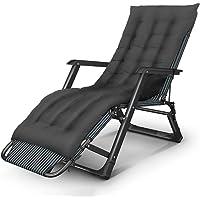 Sunbathing Garden Balcony Deck Chair Household Folding Chair Beach Camping Backrest Chair Office Portable Nap Bed Black Length 178cm GW