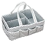 SARVOND Baby Diaper Caddy Organizer w/Strong Handles for Boys & Girls, Trendy Chevron Cloth Tote, Great Shower Gift Basket, Easy for Travel & Nursery Changing Tables, Portable Large Organizing Caddie