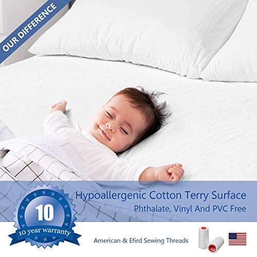 RUUF Full Size Mattress Protector, Premium Hypoallergenic Waterproof Mattress Cover, Vinyl Free
