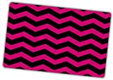 Custom & Decorative {16'' x 10'' Inch} 1 Single, Large Flexible Non-Slip Mousepad for Gaming, Made Of Easy-Glide Neoprene w/ Chevron Bold Magenta Stripe Style [Pink & Black]