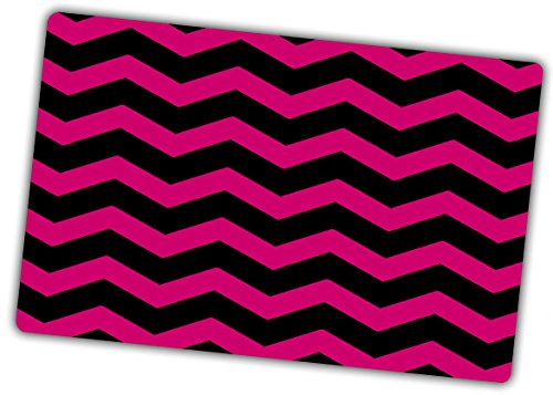 Custom & Decorative {16'' x 10'' Inch} 1 Single, Large Flexible Non-Slip Mousepad for Gaming, Made Of Easy-Glide Neoprene w/ Chevron Bold Magenta Stripe Style [Pink & Black] by mySimple Products