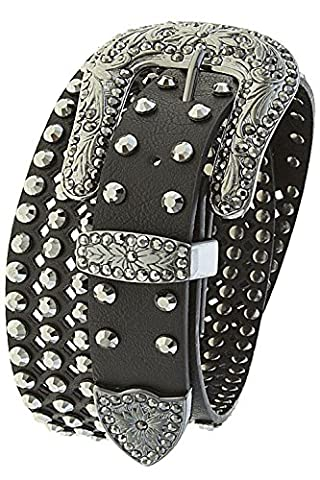 THE JEWEL RACK FLORAL ETCHED CRYSTAL CUTOUT GENUINE LEATHER BELT (Black) - Floral Etched Crystal
