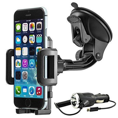 Universal 360° drehbar KFZ Auto Handy Smartphone Halterung Halter f. Apple iPhone 6 / 6 Plus / 6S / 6S Plus inkl. KFZ-Ladekabel