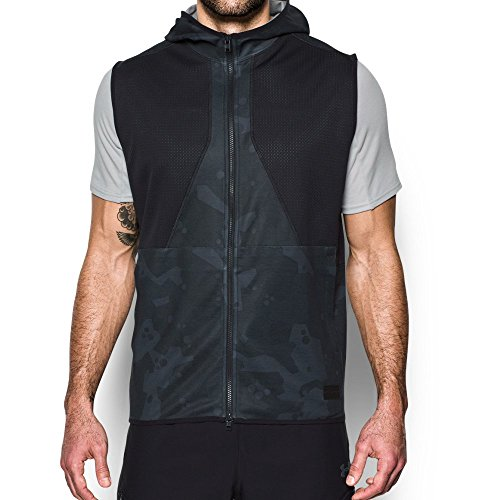Under Armour Men's Courtside Safari Vest, Black/Downtown Green, X-Large