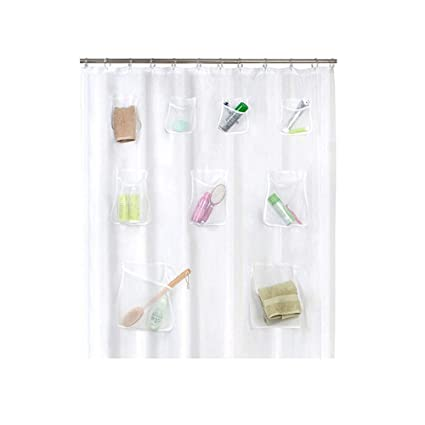 Mixpring Translucent Shower Curtain With Mesh Pockets Mildew Resistant Anti Bacterial Waterproof Bathroom Organizer