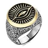 MENDINO Mens Boys Ring Eygptian Eye of Horus Stainless Steel Gold Silver Tone with a Velvet Bag