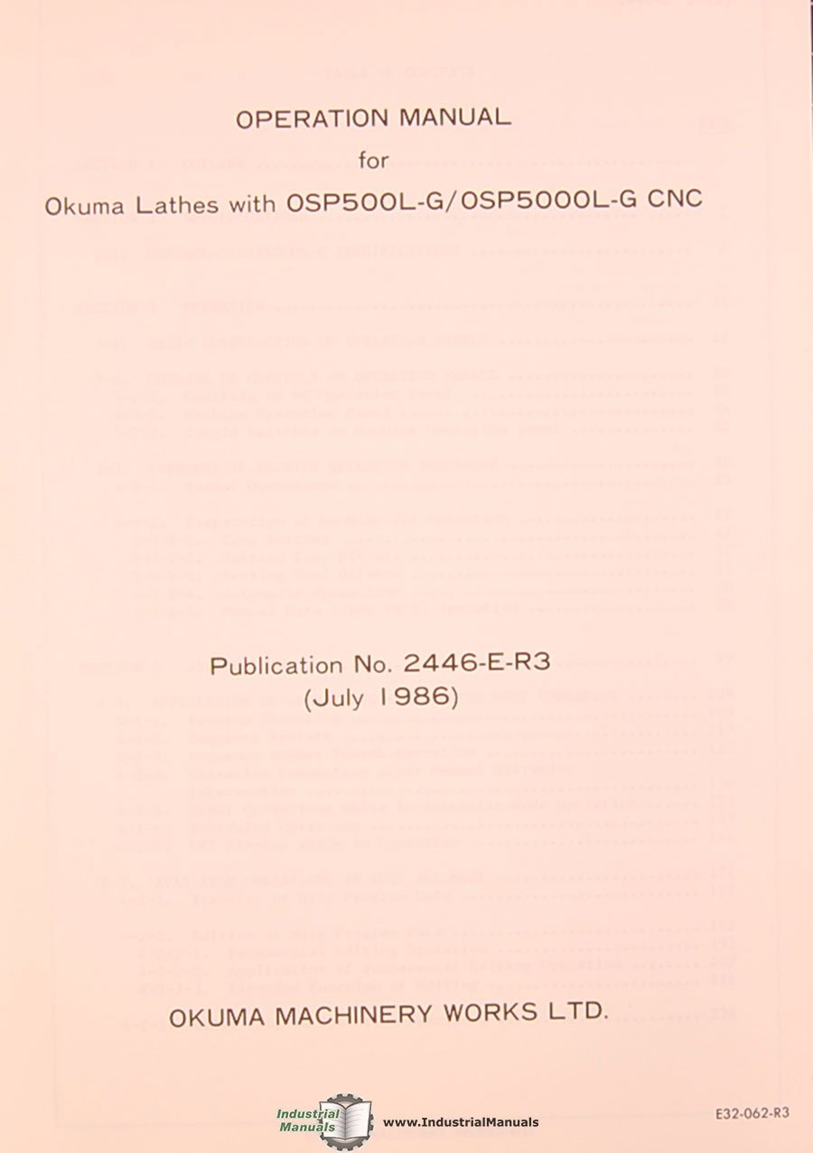 Okuma LB10 LR LP LC10-50, LS LH Lathe Operations and