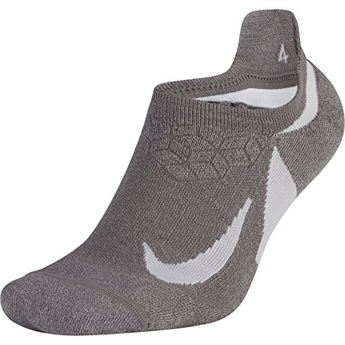 NIKE Unisex Spark Cushioned No-Show Running Socks, Gunsmoke/Atmosphere Grey/White, Size 8-9.5 (Women No Socks Nike Tab Show)