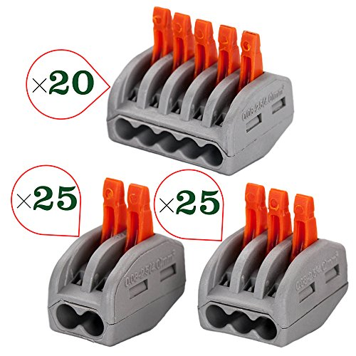 Port Lever-Nut Lever Conductor Compact Wire Connectors PCT-212/PCT-213/PCT-215 Terminal Block Wire Push Cable Connector for Junction Box Assortment Pack (70 Pack) (Quick Clamp Lever)