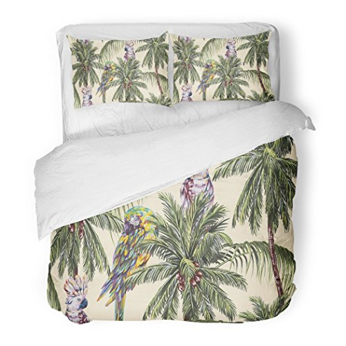 SanChic Duvet Cover Set Tropical Floral Pattern Parrots Exotic Birds Palm Trees Leaves Coconut Vintage Jungle Decorative Bedding Set Pillow Sham Twin Size by SanChic