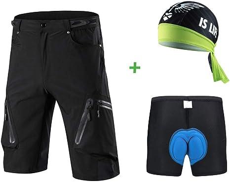 Borvelo Conjunto Pantalones MTB: Pantalones de Ciclismo MTB con 3D ...