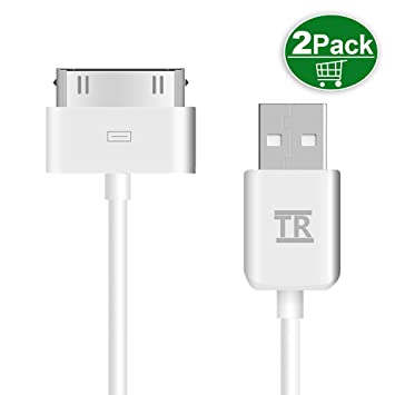 iPhone 4s Cable,TechRise 2-Pack Cable de Carga de USB Cargador Cable y Sincronización Cable de Datos (1-Metro)para iPhone 4/4S,iPhone 3G/3GS,iPad ...