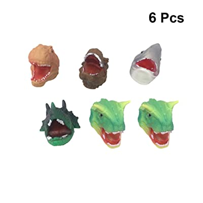 TOYANDONA 6pcs Dinosaur Finger Puppet Animal Hand Puppet Toys Rubber Realistic Dinosaur Head Hand Puppet Role Play Toys for Kid Child (Random Diversity): Toys & Games