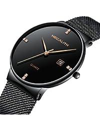 Mens Stainless Steel Mesh Bracelet Watches Men Waterproof Date Simple Design Luxury Black Wrist Watch (Black)