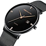 Mens Stainless Steel Mesh Bracelet Watches Men Waterproof Date Simple Design Luxury Black Wrist Watch (Black)