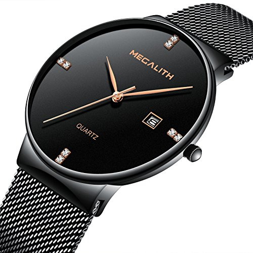 Mens Stainless Steel Mesh Bracelet Watches Men Waterproof Date Simple Design Luxury Black Wrist Watch (Gents Steel Bracelet Watch)