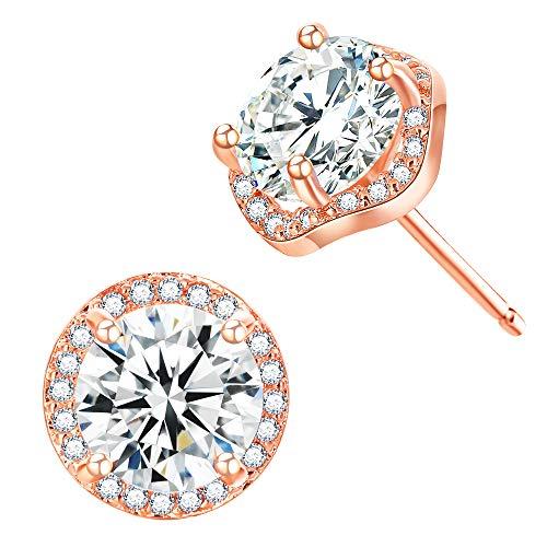 Style Rose Earrings - CZ Stud Earrings For Women – 18k Rose Gold Plated Cubic Zirconia Earrings