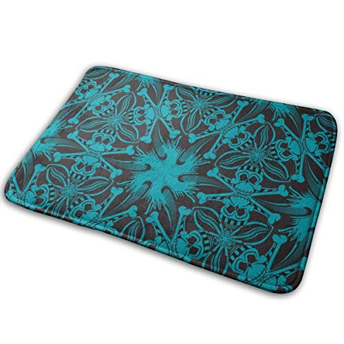 Pirate Skull Geometric Pattern Black and Teal Blue Bath Mat Non Slip Absorbent Super Cozy Bathroom Rug Decor Rug 15.7