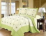 3 Piece,Floral Embroidered Quilted Poly Cotton Bedspread Throw + 2 Pillow Shams (Green, Double) by Imperial Toy