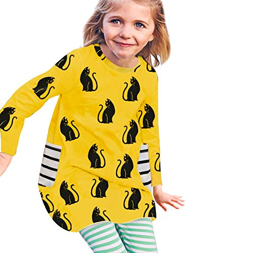 Little Girls Long Sleeve Cotton Cartoon Cat Dress with Striped Pockets Fall Skirt for Legging Halloween (Yellow+Black, 2-3Y) ()