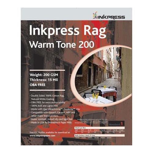 - Inkpress Rag Warm Tone 200 Double Sided, Cream White Matte Inkjet Paper, 15 mil, 200 gsm, 8.5x11