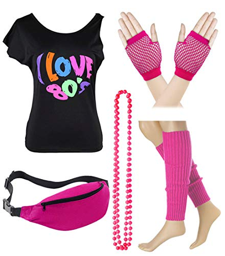 Women's I Love The 80's T-Shirt with Leg Warmer Fishnet Glove Accessories Set (M/L, Hot Pink)