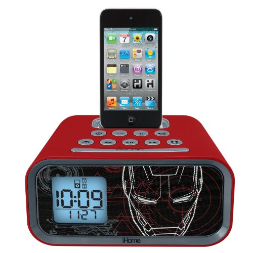 Iron Man Dual Alarm Clock and 30 pin iPod Speaker Dock (MR-H22) Ipod Alarm Clock Speaker System
