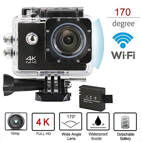 Brotherhood Ultra HD 4k Wifi Helmet Waterproof Sport Action Camera As Go Professional Underwater Camcorder + HDMI Output + [ Free Accessories For GoPro Cam | SJCAM | Eken H9] Black