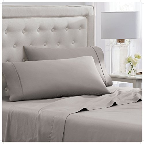 Elizabeth Arden Light-Weight 100% Long-Staple Cotton Percale Set of 2 Pillowcases - Ultra-Fine Natural Pure 300 Thread Count – Crisp & Cool - Standard/Queen Pillowcase Set of 2 - Grey by Elizabeth Arden THE SPA COLLECTION (Image #3)