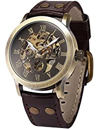 Men's Steampunk Bronze Skeleton Self-Winding Auto Mechanical Leather Wrist Wacth PMW198