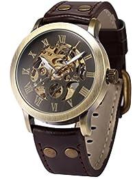 AMPM24 Mens Steampunk Bronze Skeleton Self-Winding Auto Mechanical Leather Wrist Watch PMW198