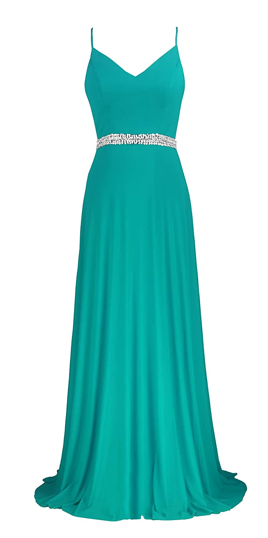 Turquoise conail Coco Women's VNeckline Spaghetti Straps Beaded CrissCross Open Back Tulle Evening Prom Formal Dress