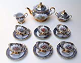 Tea set Made in Italy ligh blue with 24k gold flower