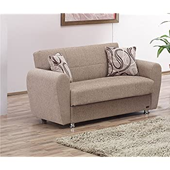 BEYAN Colorado Collection Guest Room Convertible Storage Loveseat With  Storage Space, Includes 2 Pillows,