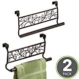 mDesign Decorative Kitchen Over-the-Cabinet Towel Bars – hang on inside or outside of doors, for Hand, Dish, Tea Towels - 9'' Wide, Pack of 2, Bronze
