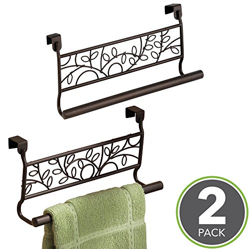 mDesign Decorative Kitchen Over-the-Cabinet Towel Bars – hang on inside or outside of doors, for Hand, Dish, Tea Towels - 9'' Wide, Pack of 2, Bronze by mDesign