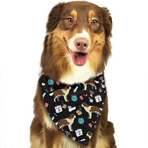 Saint Bernard Dog Art Bandana Triangle Bibs Scarfs Accessories For Pet Cats And -