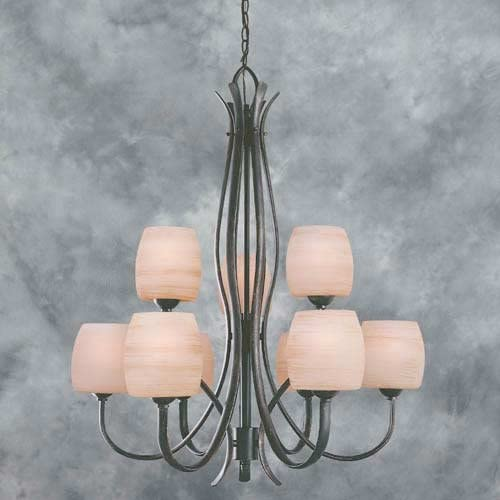 Forte Lighting 2251-09 9 Light Up Lighting Chandelier, Bordeaux