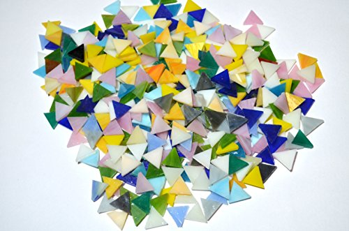 LDGJ 300g/Pack Bright Mixed Color Tumbled Stained Glass Mosaic Tiles Home Decoration ()