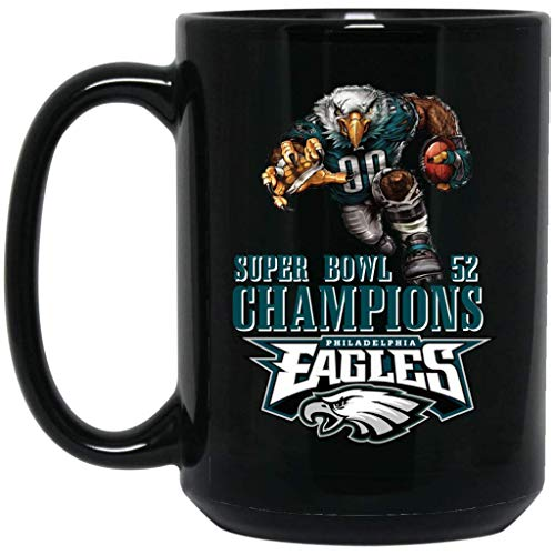 Philadelphia Eagles Coffee Mug | Eagles Mug | Super Bowl 52 Champions Philadelphia Eagles Player | 15 oz Black Ceramic Mug Cup | NFL NFC National Football League | Perfect Gift For Any Eagles Fan!