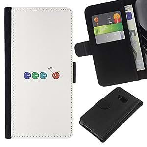 YiPhone /// Tirón de la caja Cartera de cuero con ranuras para tarjetas - Bombas divertidos - HTC One M9