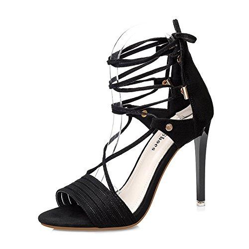 Xing Lin Leather Sandals Summer New High Heels With Roman Sandals Women Open Toe Cross Straps Black Wild Black klRgy9TNS