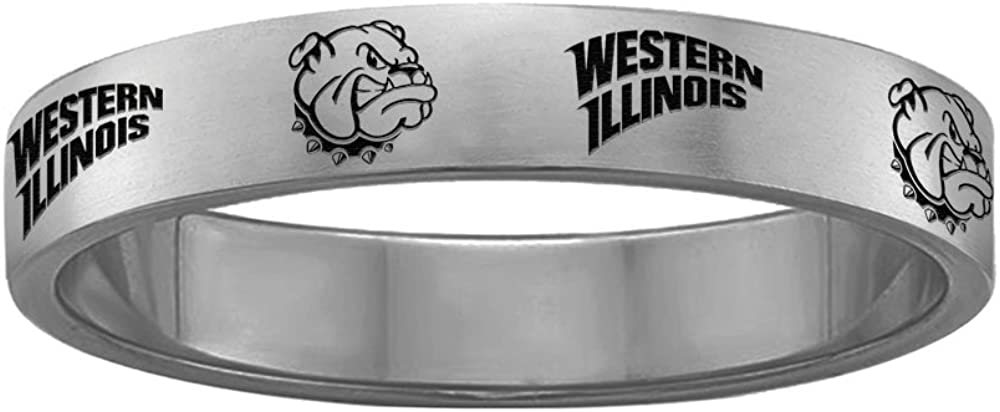 Full Logo College Jewelry Western Illinois Leathernecks Ring Ring Narrow Style 4MM Wide Band