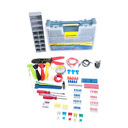 Calterm 05207 Automotive Electrical Repair Kit, 399 Pc Kit: Cable Ties, Tape, Phillips/Flat Head Screw Driver, Terminals, Tester/Probes/Alligator Lead, Wire, Stripper/Crimper, Connectors, 5-20A Fuse by Calterm