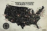 Major League Sports Map Grand Tour - All USA Baseball, Football, Hockey Stadiums - 24x16 inch Poster