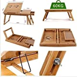 Dealcrox New Multipurpose Fold-able Laptop Table (Bamboo Wood)